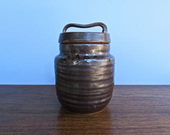Evany Zirul - Silky Tenmoku Glazed Large Pottery Jar, Studio Pottery Jar Handmade in 1971, Simply Gorgeous