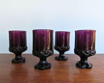 Madeira Plum Juice Glass Goblet by Franciscan, Amethyst Pedestal Goblet