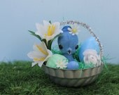 Vintage Style Easter Basket Ornament  - Tin Mold, Flocked Blue Duck