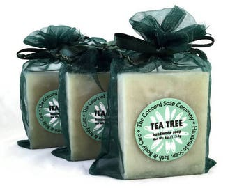 Tea Tree Vanilla Handmade Cold Process Soap Bar, 4oz - essential oil, vegan, natural, organic sustainable palm oil, hunter green organza bag