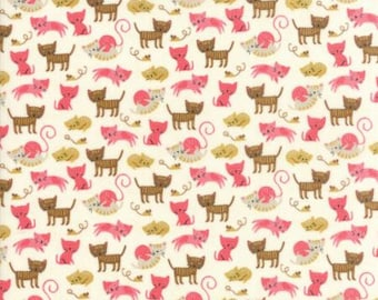 FABRIC WOOF WOOF Meow Cats on Cream   We Combine Shipping
