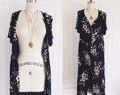 RESERVED Vintage 90's black floral maxi duster dress  blouse