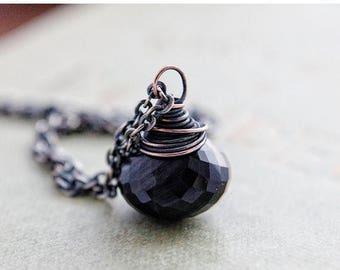 Summer Sale Cat's Eye Pendant Necklace Black Gemstone Copper Sterling Silver