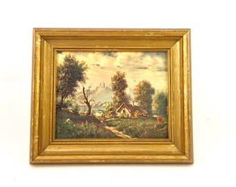 Vintage gold framed print of masterpiece Painting  landscape old gold wood frame english cottage