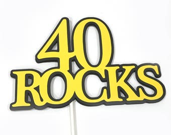 40th Birthday Topper - 40 ROCKS - Sucker Bouquet, Black and Yellow, READY to SHIP