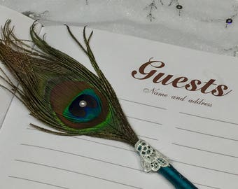 1 PEACOCK Feather Pen with LACE and PEARL in Your Choice of Colors
