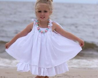 Girls White Dress - White Beach Dress - White Gauze Dress - Twirl Dress