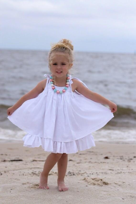 Custom order Linda F.  Girls White Dress - White Beach Dress - White Gauze Dress - Twirl Dress -