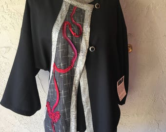 Criss Cross Black  And Grey Jacket With Red  Ribbon Trim /Size M/L
