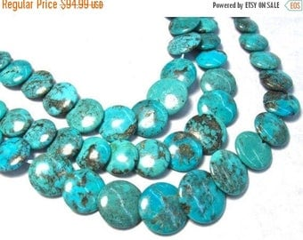 20% OFF SALE Natural Kingman Turquoise Beads, Round Coin Beads, 16 Inches, 6mm 8mm 10mm 12mm 14mm Arizona Turquoise