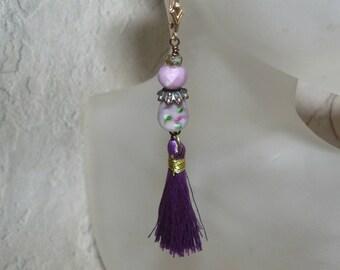 Long Tassel Earrings, Purple Earrings, Venetian Glass Earrings, Handmade Earrings Unique Handmade, One of a KInd, Summer Jewelry, For Her