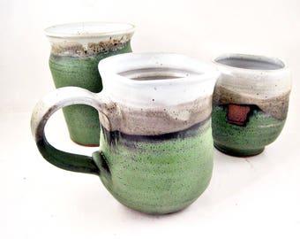 Handmade 20 oz Pottery Mug, Ceramic mug in slate green and white, Stoneware coffee mug - In stock