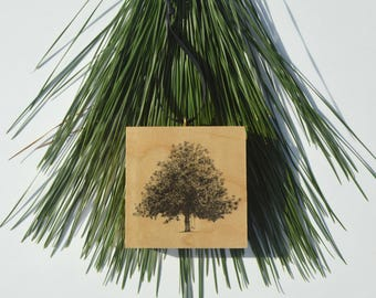 Wood Block Christmas Ornament - Gordonston Magnolia Tree