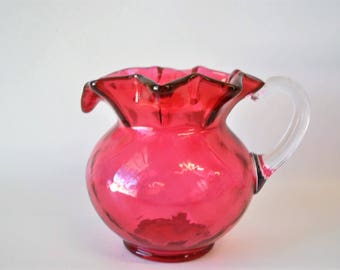 vintage cranberry Fenton ruffled edge pitcher / flower vase / collectible / Fenton glass