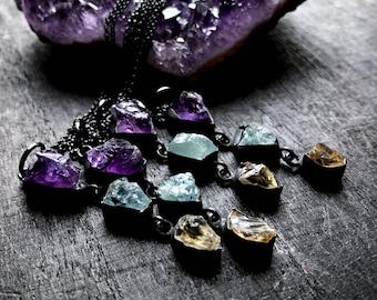 Peridot necklace   raw aquamarine amethyst necklace   ametgyst pendant   August birthstone necklace   raw stone choker necklace
