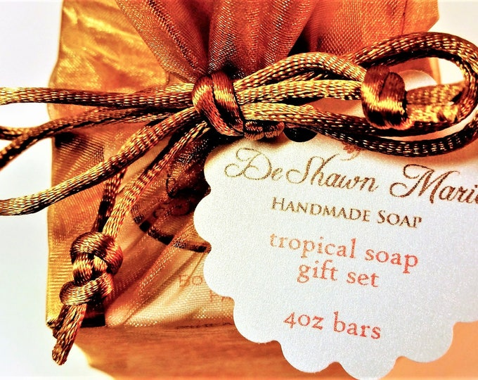 Soap Gift -  Exotic Island Soap gift set - soap gift bag - 5 soap vegan gift set - Tropical soap set