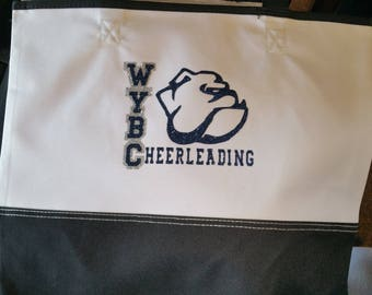 Custom --  Cheerleading TOTE --  Glitter Tote,  You pick wording/design & colors.