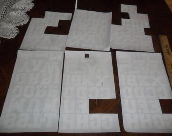 "Large Mix of 111 White Flocked IRON-ON Letters measuring 1 1/2"" h for Sports, crafts, etc"