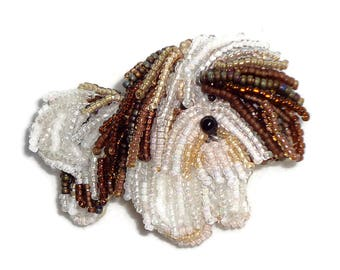 HAVANESE Beaded Dog Pin or Pendant Jewelry (Made to Order)