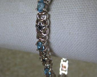 Aquamarine Stone Sterling Bracelet Tennis Sapphire Blue Faceted Star Vintage Link 925 Silver