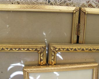Set 3 Ornate Metal Picture Frames, Double, Single and Tri Retro