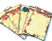 """12 Small Note Cards, Gift Tags, Jewelry Holders, Journaling Cards, Tan Green Red, 3 1/4"""" x 2"""" with flowers Bows, Takuniquedesigns"""