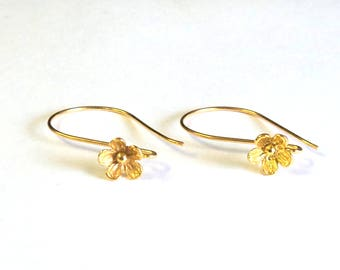 2 Bali Vermeil Flower Ear Wires, 20 Gauge, 25x15mm, Earring Components, Jewelry Findings, DIY Jewelry