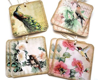 8 Beautiful Vintage Birds Gift Tags, Party Favor Tags, Merchandise Tags, Handmade, Takuniquedesigns