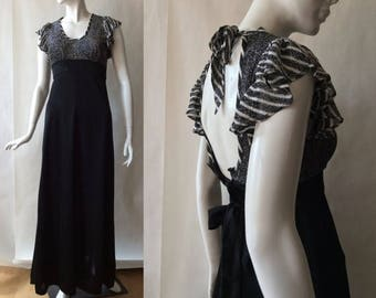 MOVING SALE Vintage 1970's silver and black gown, scoop neck, with flutter cap sleeves and empire waist, extra small (size 0-2)