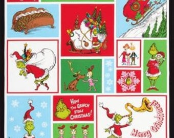 Free Ship USA - How the Grinch Stole Christmas 100% cotton fabric panel 24 x 44/45 inches tall