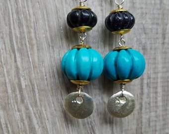 Turquoise Blue Dangle Earrings, Blue Goldstone Melon Beads, Silver Dangles, Gold Brass