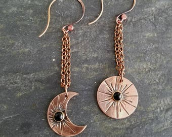 Sun & Moon Earrings, Hammered Copper, Crescent Moon, Celestial Dangles, Black Onyx, Asymmetrical Earrings