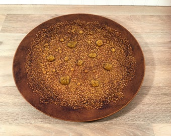 Large round platter or tray- enamel on copper- Bovano of Cheshire (Conn.)- nice condition- mid century modern