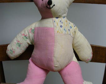 Vintage Quilted Pink Bear Made with Antique Quilt