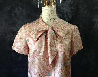 ON SALE 1960's Morlove blue pink beige marble print blouse with bow
