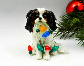 TriColor Cavalier King Charles Spaniel  Christmas Ornament Figurine Porcelain