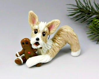 Pembroke Welsh Corgi Christmas Ornament Figurine Gingerbreadman Porcelain