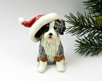 Australian Shepherd Blue Merle Christmas Ornament Figurine Santa Hat Porcelain