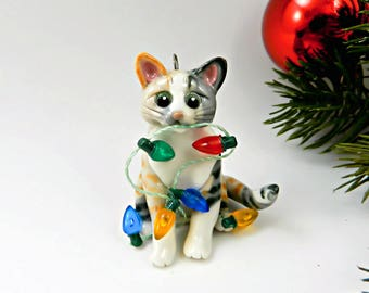 Cat Calico Tabby Christmas Ornament Figurine Lights Porcelain