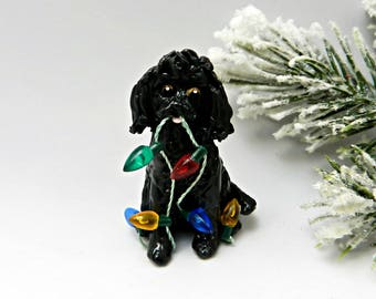 MaltiPoo Black Christmas Ornament Figurine Lights Porcelain