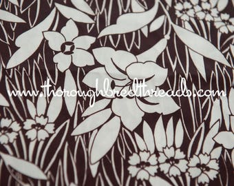 Mod Brown Floral - New Old Stock  Vintage Fabric 60s 70s