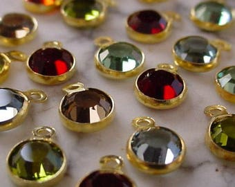 Free Shipping 8pc Samples Tiny 4mm Swarovski Crystal Vintage Mini Drop Charm 17ss Round 1 Ring Loop Setting Raw Gold Tone Brass LE5B