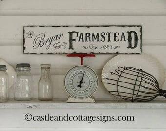 Custom Family sign Vintage Farmstead farmhouse original design handpainted
