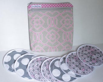 Wet dry bag,  Nursing pad pouch, and/or 4 pairs nursing breast pads,double  zipper pouch