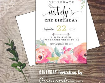 SECOND  birthday party invitation birthday celebration girl One birthday party invite watercolors  flowers , custom designed