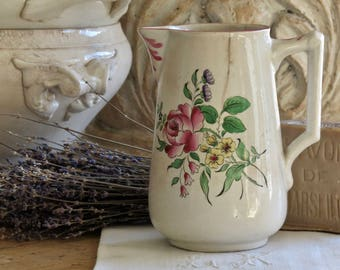Lovely Old French Shabby Chic Hand Painted Pitcher