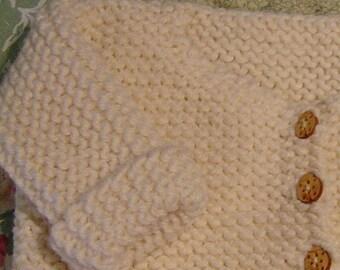 French Baby Cardigan Pattern, Garter Stitch, PDF