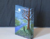 Miniature Cat Moonlit Landscape Painting 2x3 Dollhouse Art Canvas with or without Easel Creationarts