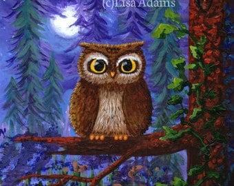 Big Eyed Owl Moon Note Cards Creationarts Free Shipping