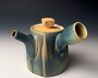 Square Teapot - Blue and Soft Yellow